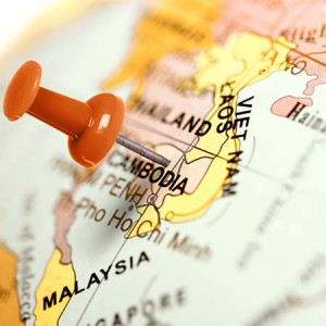 Location Cambodia. Red pin on the map.