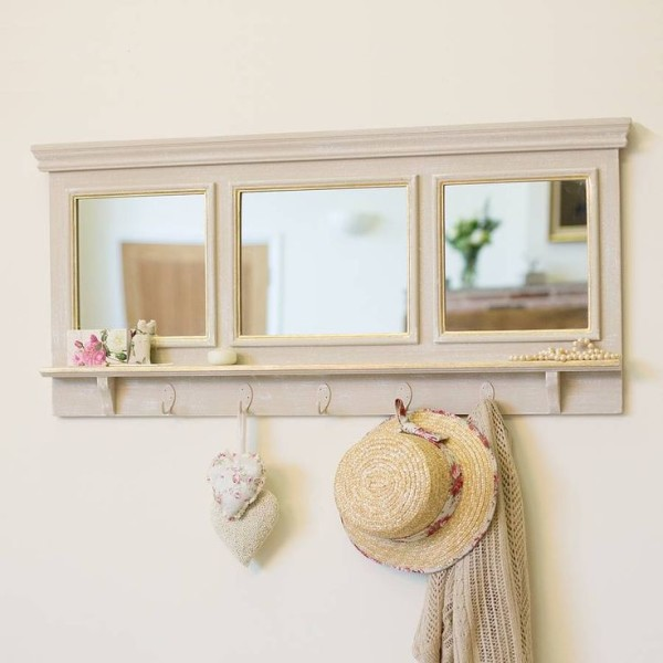 Entryway Mirror Coat Hooks Nearby Small Brim Sun Hat And Las Hand Knit Sweaters Against Smooth Textured Plaster Walls On Cream Paint Colors 600